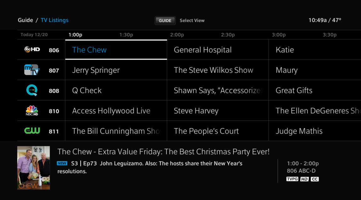 Example of new XFINITY On-Screen Guide is displayed with show names and times.