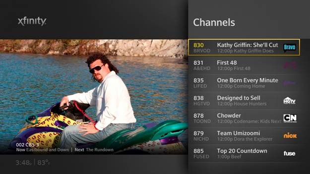Current XFINITY On-Screen Guide for either the RNG150 set-top box or the XG1 DVR.