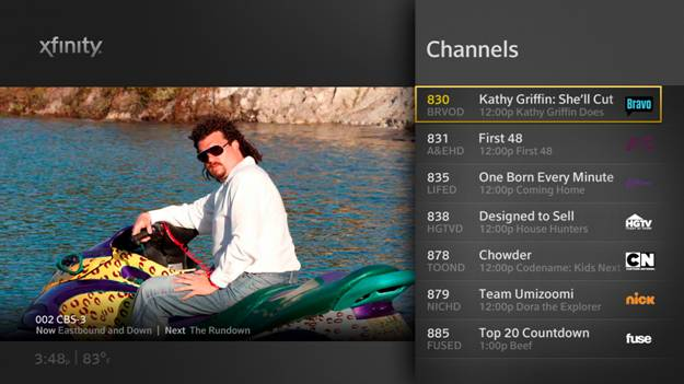 XFINITY On-Screen Guide for either the RNG150 set-top box or the XG1 DVR.