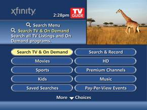 "Guide screen highlights the ""Search TV and On Demand"" option left of center."
