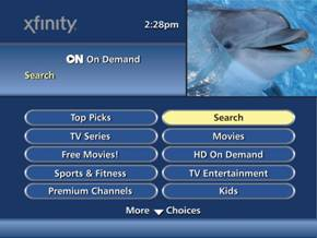 "On Demand screen, ""Search"" option highlighted"