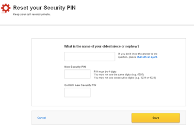 Reset Your Security PIN screen displays fields for answer to secret question and new PIN.
