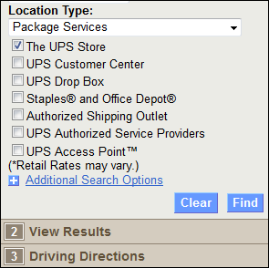 This shows UPS.com's Dropoff screen. There is a listing of Location Types, a drop-down selected to Package Services and the top box titled The UPS Store is selected.