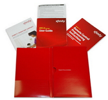 The user guide and other self-installation kit literature are displayed