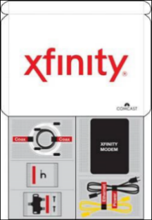 The contents of an XFINITY Internet self-installation kit are displayed. The contents are described in the text below.