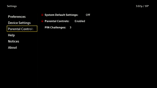 X1 Guide: Settings with Parental Controls options selected.