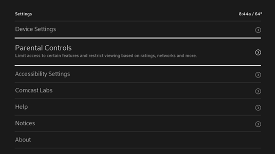 "Settings screen with the Parental Controls option highlighted.  The option reads: ""Parental Controls: Limit access to certain features and restrict viewing based on ratings, networks, and more."