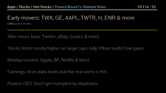 A list of news articles related to the selected stock are displayed.