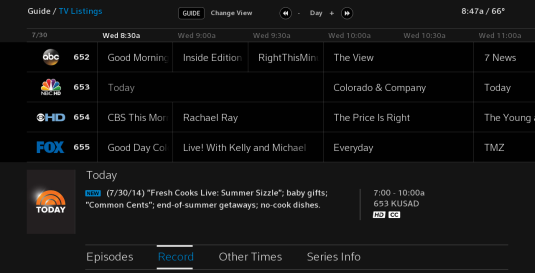 Highlight the desired action from the options list at the bottom of the Guide menu screen. Options include Episodes, Record, Other Times and Series Info. Record is highlighted.