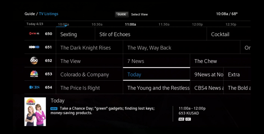 "Guide Menu displays a grid of TV program listings. ""Today"" is selected in center screen."