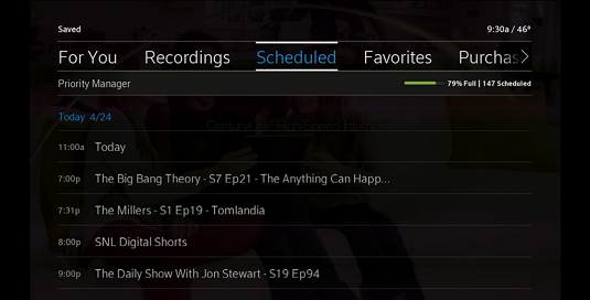 Scheduled recordings display