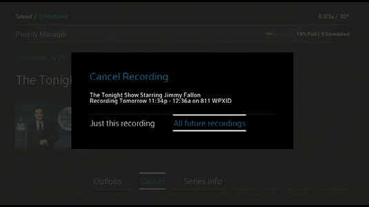 Option to select All future recordings displays.