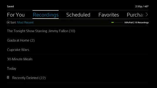 Recordings menu displays with the option to click the Recently Deleted folder.