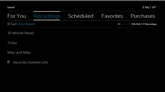 Saved recordings menu displays with option to select Recently Deleted folder