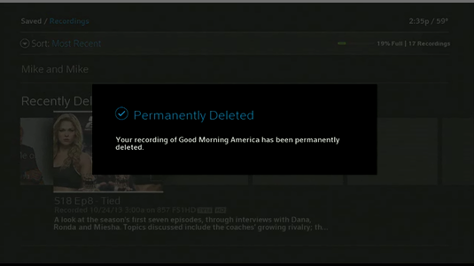 Permanently Deleted message displays, noting you have permanently deleted this recording.