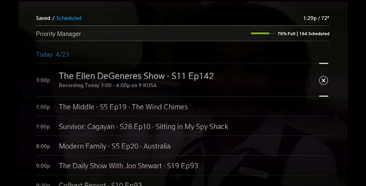 Use the down arrow button to highlight a series recording.  An X icon appears to the right of the series name, indicating that the series is to be deleted.