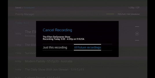 Use the right arrow button on the remote to highlight the All Future Recordings option on the right-hand side of the screen.