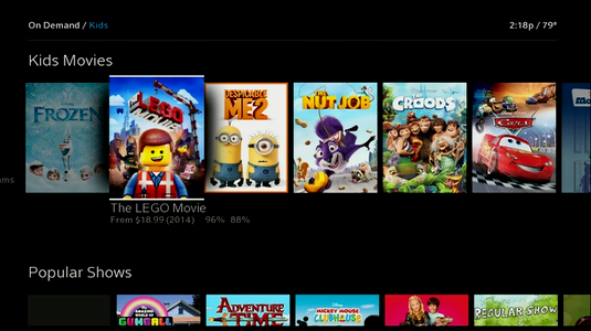 The LEGO Movie is highlighted.  When highlighted, the title, price, year the movie was released, and movie review scores display.