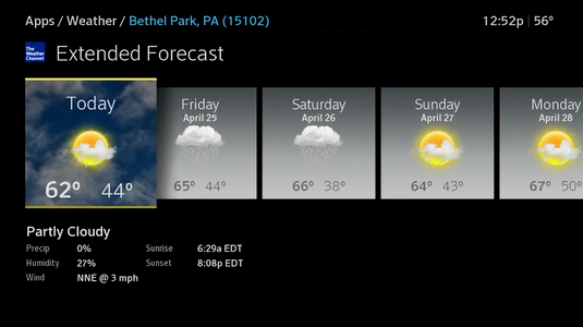 The current day icon is selected and weather details are shown.