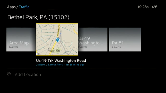 Traffic locations are displayed and a location is selected.