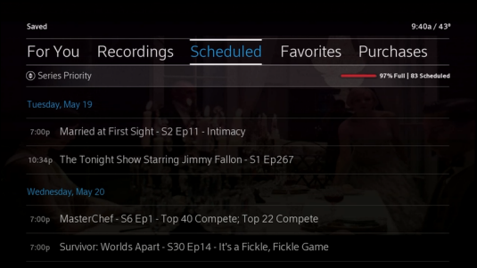 Saved Menu displays with Scheduled recordings listed under Series Priority.