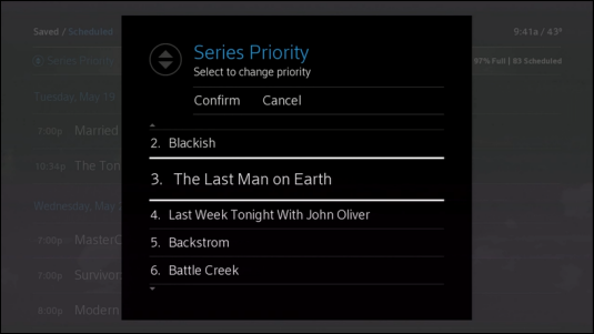 The scheduled recordings in Series Priority are displayed in a list.