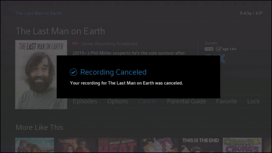 "Confirmation message says ""Recording Canceled."""