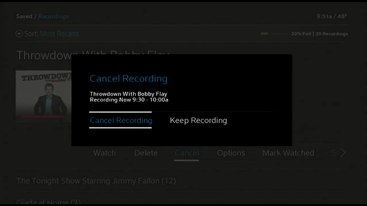 Cancel Recording prompt displays.