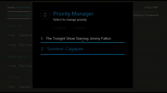 The second recording in the priority manager is chosen to display as the first priority.