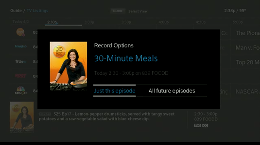 Record Options display with prompt to record Just this episode.