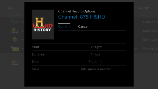 The Channel Record Options screen has options to Confirm or Cancel near the top. Below are options for Start Time, duration, date, and saving priority.