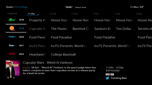 Guide displays channels and programs you can record.