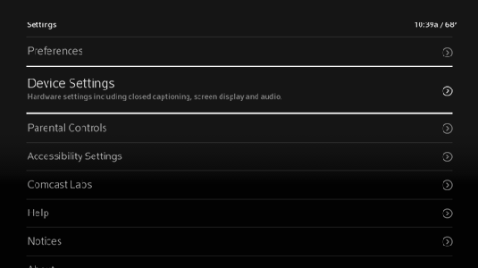Settings menu displays with Device Settings highlighted.
