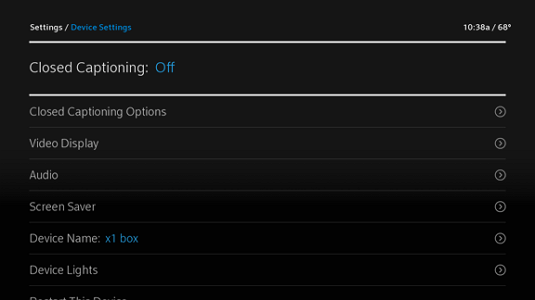 Device Settings Menu displays with the Closed Captioning option highlighted.