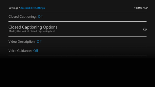 The Closed Captioning Options listing is second from the top, directly beneath the option to toggle Closed Captioning on or off.
