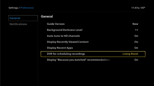 The DVR for scheduling recordings is highlighted. It is the next to last item in the vertical list in the center of the screen.