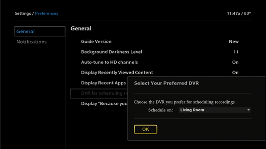 A drop-down menu of DVRs is displayed at the bottom right of the screen. The default DVR can be selected from this menu.