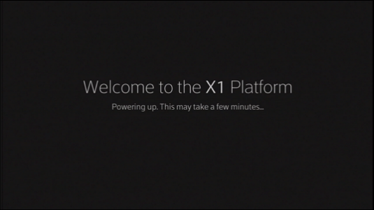 Boot screen, stating that the X1 set-top box is powering up.