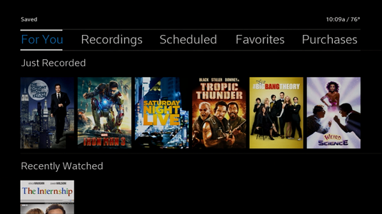 Recent Recordings display under the For You option, recordings you watched display under Recently Watched.