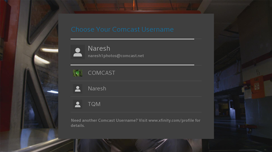 On the Choose Your Comcast Username screen there is a list of user IDs associated with your account options for you to choose from.