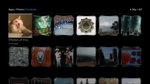 Facebook albums and pictures are displayed on the screen in rows.