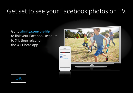 Prompt to link X1 with Facebook in order to view photos. OK button at lower left.