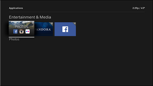 The Photos App is the first option under the Entertainment & Media section of the X1 Apps menu.