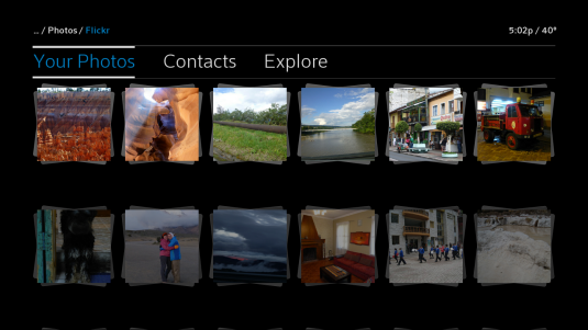 Options are displayed for viewing photos, contacts or Explore in Flickr.