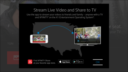 Information on sharing content to TV and live streaming is displayed.