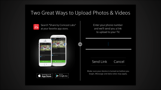 Options for uploading content from a mobile device are displayed.