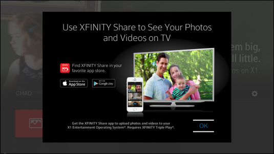 Options for downloading the XFINITY Share Mobile app are displayed.