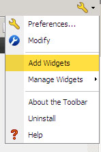 "Settings button drop down menu with ""Add Widgets"" selected"