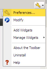 "Settings dropdown menu with ""preferences"" highlighted"