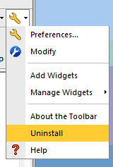 Pull-down menu from the toolbar's wrench icon displays. Select Uninstall.